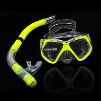 TK0868# diving equipment - New Fluorescence Yellow Scuba Diving Equipment Dive Mask Dry Snorkel Set Scuba Snorkeling Gear Kit TK0868