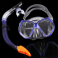 scuba diving equipment - Dive Mask Dry Snorkel Set Scuba Snorkeling Gear Kit New Scuba Diving Equipment Dark Blue B2 TK0867