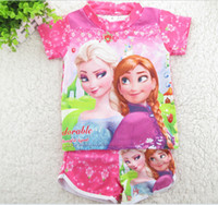 Girl Spring / Autumn Short Summer Ice snow baby two-piece(T-shirt + shorts),children swimwear,Frozen candy color swimsuit,princess fission swimsuit,clothes.1 set.LZ
