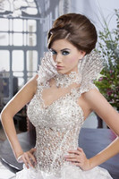 Wholesale 2014 Newest Design Luxury Beautiful Wedding Dress Aline Lace Beads Corset Ruffles Removable Beading Collar Custom Made Hot Sale