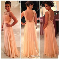 Wholesale 2014 New High Quality Nude Back Peach Color Bridesmaid Dress Chiffon Lace Long Brides Maid Evening Prom Celebrity Dresses Hot Sale