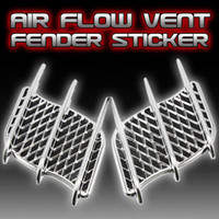 Wholesale 2Pcs Universal Car Decal Auto Side Mesh Vent Air Flow Fender Decorative Sticker electroplate