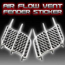Wholesale 2Pcs Universal Car Decal Auto Side Mesh Vent Air Flow Fender Decorative Sticker electroplate