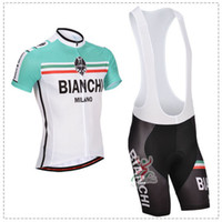 Wholesale NEW Bianchi Team Cycling clothing Cycling wear Cycling jersey short sleeve Bib Shorts Suite Bianchi D