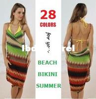 Women Bikinis Floral Wholesale-Ophira Women's Fashion 2014 Summer Beach Bikini Wrap Dresses Bohemian Pin Up Cover ups Swimwear Vestidos de Playa Femininas