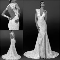 sequin appliques - 2014 Vintage Sexy Mermaid Wedding Dresses Bridal Gown Deep V Neck Lace Applique Sequins Chapel Train Backless Open Back Cap Sleeves Sheer