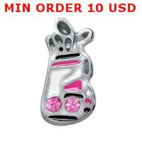 Wholesale GOLF BAG WITH PINK CRYSTALS floating charms for memory living locket
