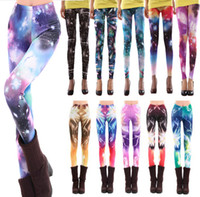 Wholesale Popular Europe and America Fashion women pants Sexy Galaxy Leggings Patterned Tights Girl Graffiti Leggings Starry Night Tights Space pants