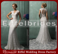 Wholesale Vintage Lace Wedding Dresses with Attractive Sexy V Neck Cap Sleeve and Glamorous Illusion Back Elegant Mermaid Cathedral Train Bridal Gowns