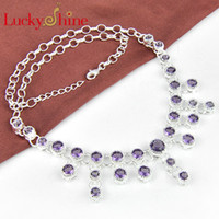 Wholesale Elegant Fashion Silver Natural Amethyst Necklace N0578