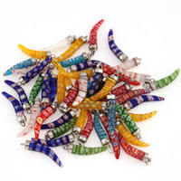 artificial peppers - 20pcs Flower Print Chili Pepper Shape Artificial Crystal Pendant