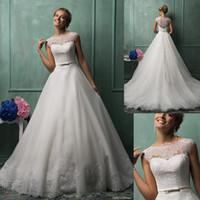 Wholesale New Style A Line Court Train Appliques Tulle Bateau Cap Sleeve Sheer Bridal Wedding Dresses with Satin Ribbon Bow