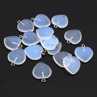 artificial cat eyes - 20pcs Clear Peach Heart Shape Artificial Gemstone Cat Eye Opal Pendant