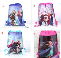 Wholesale DHL Frozen Elsa Anna Olaf Kristoff Prince Hans Drawstring Cartoon Backpack Kids School Bag Children Handbag