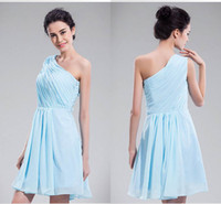 Cheap Greek goddess one shoulder sky blue short bridesmaid dresses SA338 summer fashion formal layerded mini party homecoming dresses