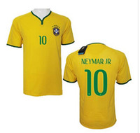 Wholesale Newest Jerseys Brazil Home NEYMAR JR Jersey World Cup Jerseys Yellow Soccer Uniforms for Men Hottest Sports Shirts Brand Shirts