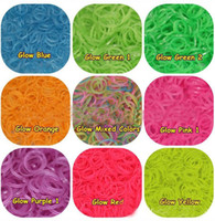 Cheap Free shipping Rainbow Loom Refill Rubber Bands - Neon, Glow in the Dark (600 bands + 24 clips)