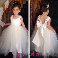 Wholesale 2014 Special Princess Unique Two Straps Open Back Ball Gown Floor length White Tulle Lace Beaded With Big Bow Sash Flower Girls Dresses