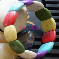 Wholesale 2014 Hot Sale Bohemia Style Bracelets High Quality Mixed Color Stretch Turquoise Bracelet For Women Turquoise Bangle Tibetan Bracelet