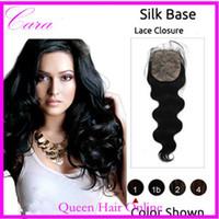 Cheap Queen Hair Products 6A Silk Base Closure Brazilian Peruvian Malaysian Indian Hair Body Wave Silk Top Lace Closure 4x4 Free Style