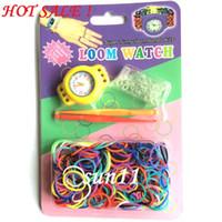 al por mayor rubber band bracelets-El más nuevo! 2014 Bandas Buena DIY Tejer Telar trenzada reloj Rainbow Kit Rubber Loom hecho a sí mismo de silicona pulsera 50pcs (reloj + goma + Clip + Hook )