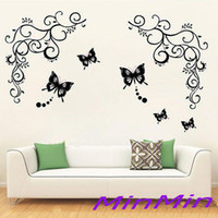 Wholesale 100pcs Butterfly Feifei Flowers Vine Art Vinyl Wall Decal Stickers Home Decor Reusable Wall paster house decorative