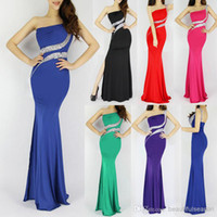 Wholesale Luxury Grace Karin New Sexy One Shoulder Backless Polyester Fiber Split Long Mermaid Evening Prom Party Dress Red Black CL6062