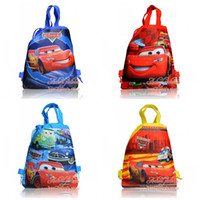 cute drawstring bag - Hot Sale Lovely Cute Styles Cars kids Backpacks Cartoon Drawstring Backpack Bag Designs kids gifts school handbags Non woven CM