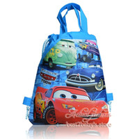 Wholesale Hot Sale Lovely Cute Styles Cars kids Backpacks Cartoon Drawstring Backpack Bag Designs kids gifts school handbags Non woven CM