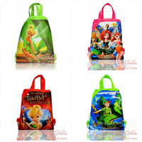 Wholesale Hot new arrival Tinker bell and Peter Pan Backpack Cartoon Drawstring Backpack Bag kids school bags Non woven34 CM