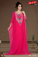 Cheap 2014 New Designer Unique Arabic Prom Dresses Dubai Abaya Kaftan with Long Sleeves Middle East Style Dress WD-370