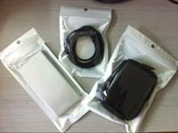 Bolso plástico del paquete al por menor de la cremallera de Clear + White para los accesorios del teléfono celular del cargador del coche del cable de datos que embala el bolso 500pcs / lot