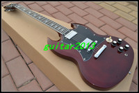 Cheap Wholesale - Free shipping One neck (No Scarf) Newest Dark Red SG Model silver hardware High Quality Electric Guitar HOT Free shipping One ne