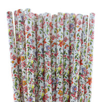 flower paper straws - 143 Mixed Paper Straws FLOWER new items drinking straws party supplies Barware Holiday articles bar and kitche bag