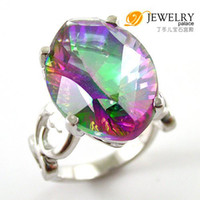 Cheap Paris Gypsy Jewelries 12ct Genuine Cabochon Mystic Topaz Women's Midi Ring 925. Sterling Silver Freeshipping