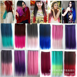 Wholesale New fashion style gradient cards a piece curly hair straight hair piece wig color Harajuku AliExpress