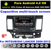 Wholesale HD din quot Pure Android Car DVD Player for Mitsubishi LANCER With GPS Navi G WIFI Bluetooth IPOD TV Radio RDS AUX IN