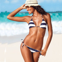 Sexy Women's Navy White Stripes with Sequin Bikini Swimwear ...