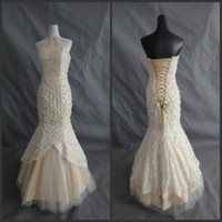 champagne tulle lace prom dress - Prom Dresses with Pearls Amazing Strapless Lace up Champagne Mermaid Prom Dresses Pleats Tulle Floor Length Trumpet Sexy Princess Gowns