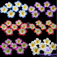 achat en gros de décorations en mousse hawaïennes-200pcs Décorations de table Plumeria hawaïen Foam Frangipani Flower Pour Mariage Party Decoration Romance