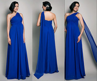 Wholesale New One Shoulder Royal Blue Chiffon Maternity Evening Dresses Floor length Celebrity Bridesmaid Bridal Party Gowns Greek Style Cheap