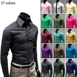 Wholesale New Men s Shirts Casual Slim Fit Stylish Dress Shirts plain and simple Candy Color M XXXL LC0035
