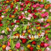 Wholesale 200pcs Small Satin Ribbon Flower Rose sewing wedding appliques U pick A2014