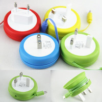 Wholesale 5V A Circular wall Plug charger with Micro USB Cable Cord Winder UFO Design Power Travel Adapter for Samsung S4 S5 Iphone s Universal
