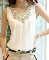 Cheap 2014 New Fashion Summer Blouses Sleeveless Sexy Harness Basic Women Black White Chiffon Tops s Size XL XXL GBL03