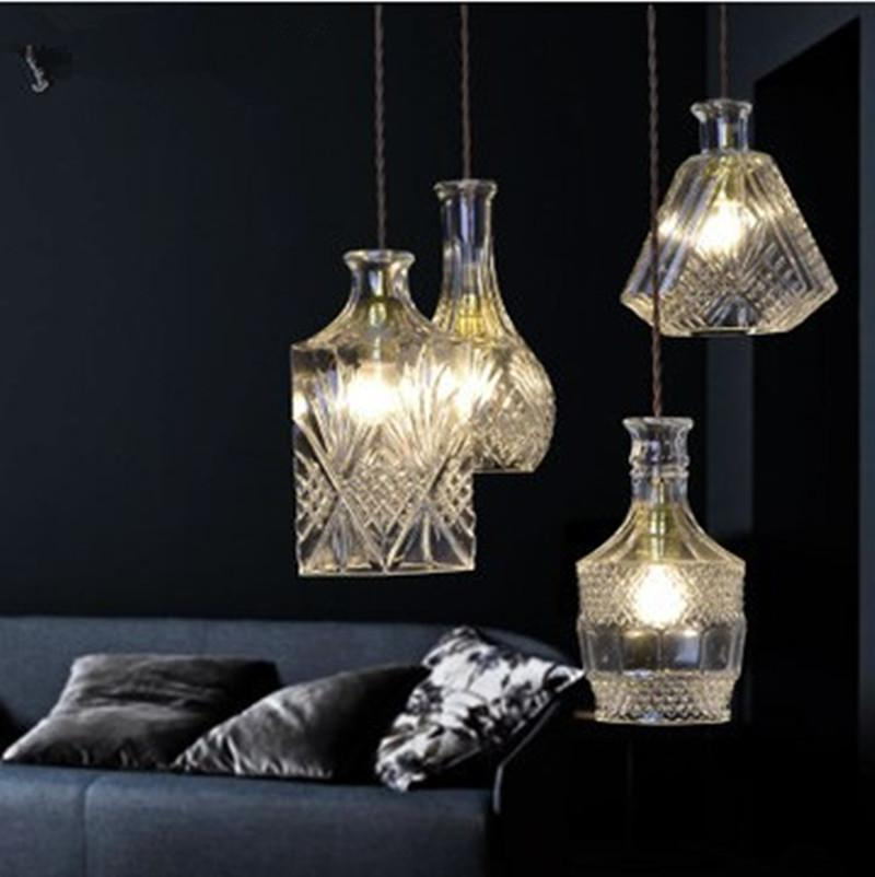 New pendent lamps carved bottle glass chandelier lighting european modern minimalist restaurant - Glass bottle chandelier ...
