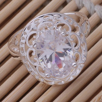 Wholesale Trendy White Shinning Gemstone Ring Silver Plated Ring Size AR409