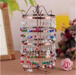 Multicolor High quality metal Round Jewelry Display Stand Rotatable Earrings Holder 4 Layer women Jewelry Packaging & Display