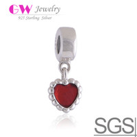 Wholesale RED BEADED HEART DANGLE CHARM heart charms made of sterling silver fit European bracelets No LW158