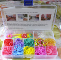 Wholesale Colorful rainbow loom kit clear plastic box packaging DIY Children s toys buckle crochet Small pendant instructions DHL free